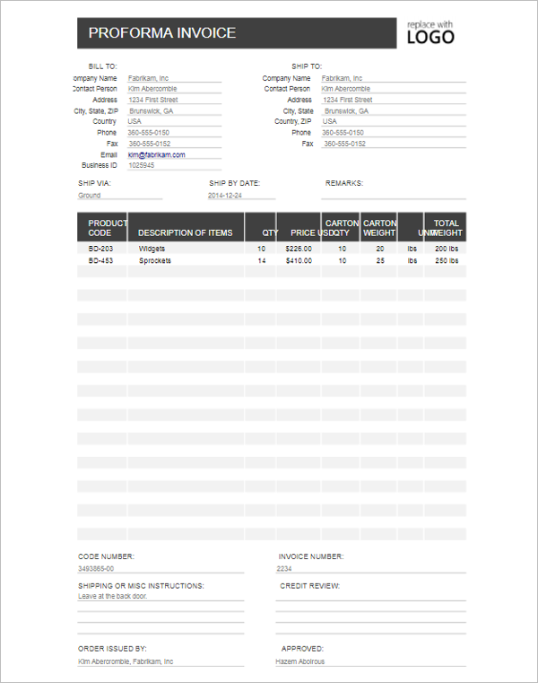 Proforma Invoice for Free Template