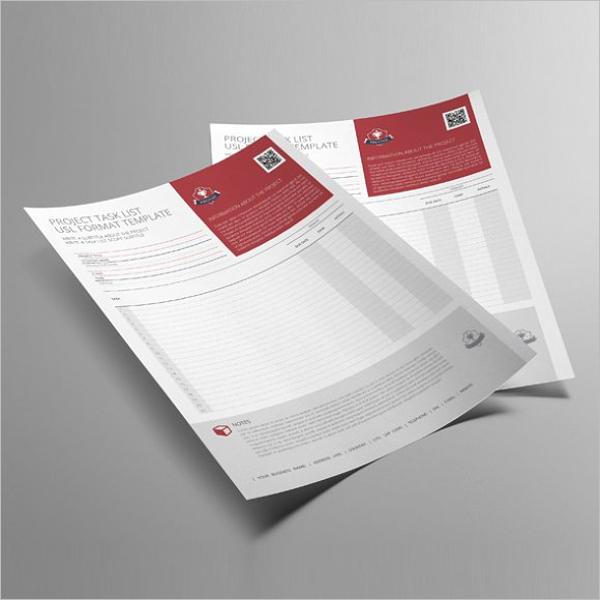 Project List PSD Task Format