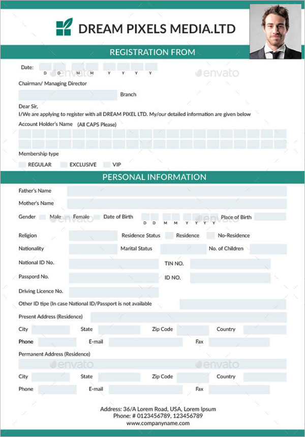 Registration & Membership Form Template