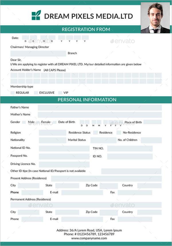 Registration & Membership Form Template