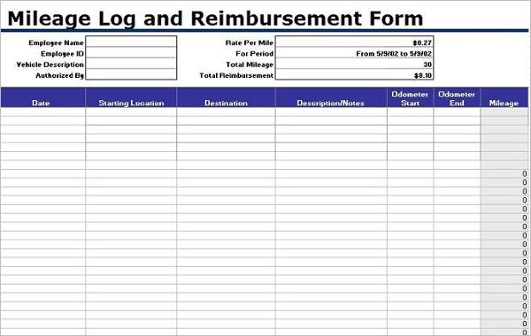 Reimbursement Mileage Log Template