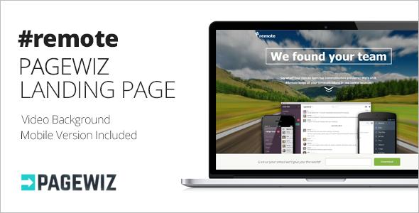 Remote Pagewiz Landing Page Template
