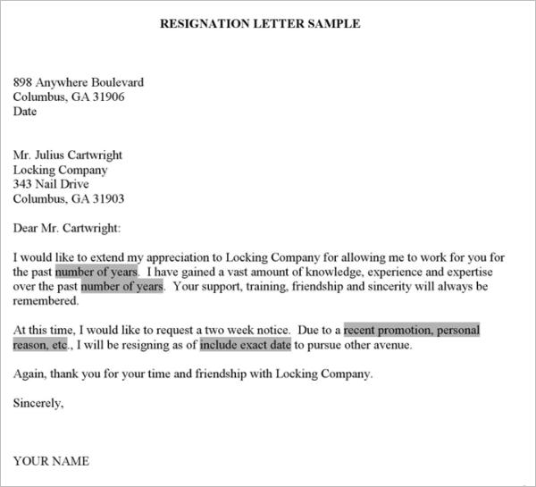 microsoft resignation letter templates