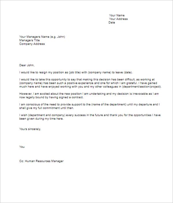 Resignation Letter Sample Doc