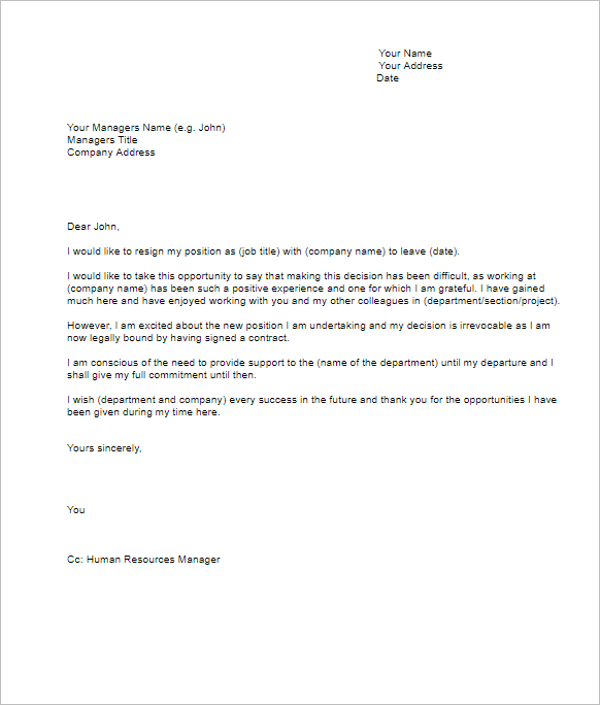 17 Resignation Letter Templates Free Word Pdf Excel Samples
