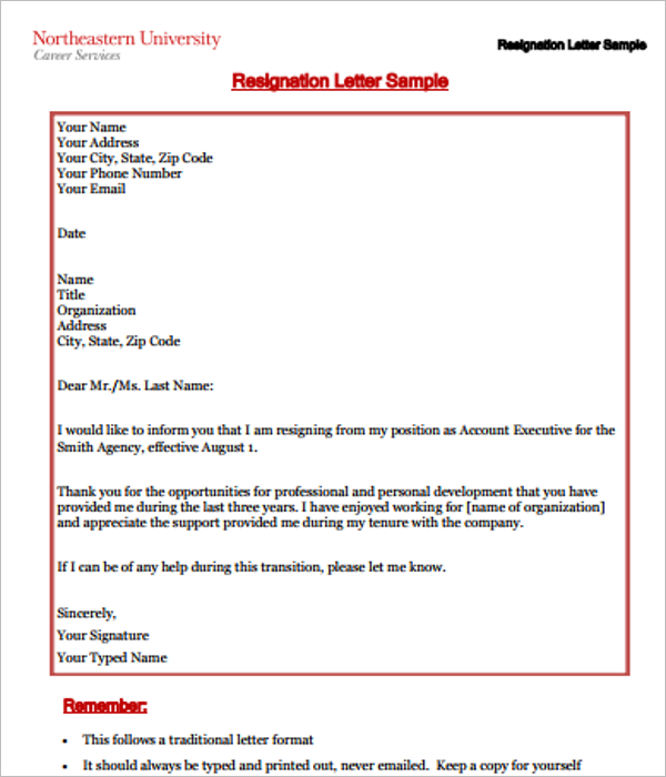 Resignation Letter Sample Format