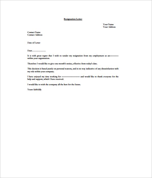 17 resignation letter templates free word pdf excel samples resignation letter template maxwellsz