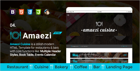 Restaurant HTML Web Template