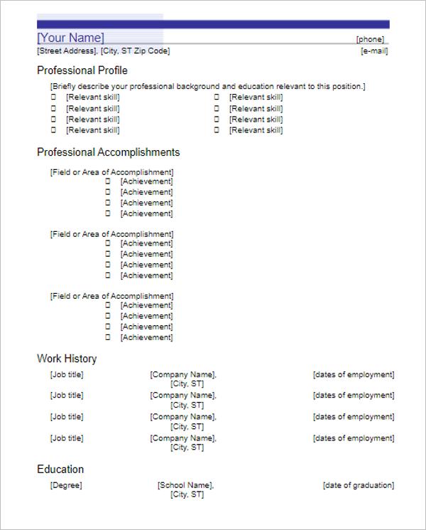 Resume For Achievement