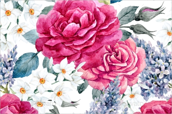 Retro Rose Seamless Pattern