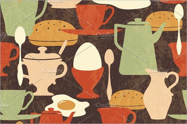 Retro kitchen pattern vector