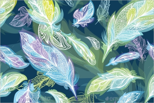 Romantic Vector Feather Pattern