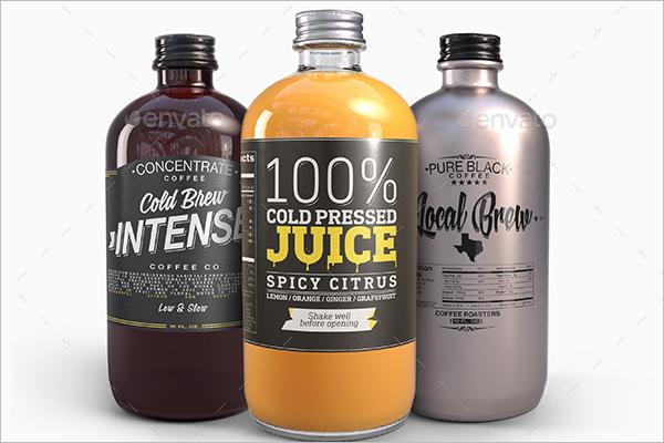 Round Juice Bottle Mockup Design