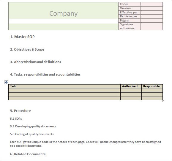 SOP Review Checklist Template