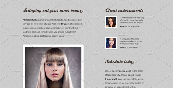 Salon Web Template