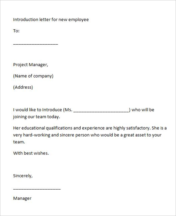 sample introductory letter for employment