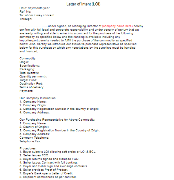 33 Letter of Intent Templates Free Word Sample Documents – Sample Letter of Intent Template