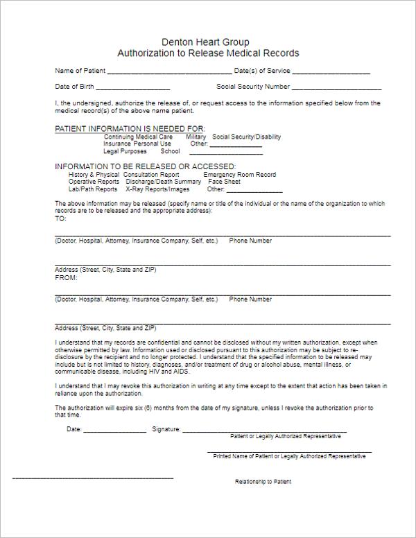 Sample Medical Form Template