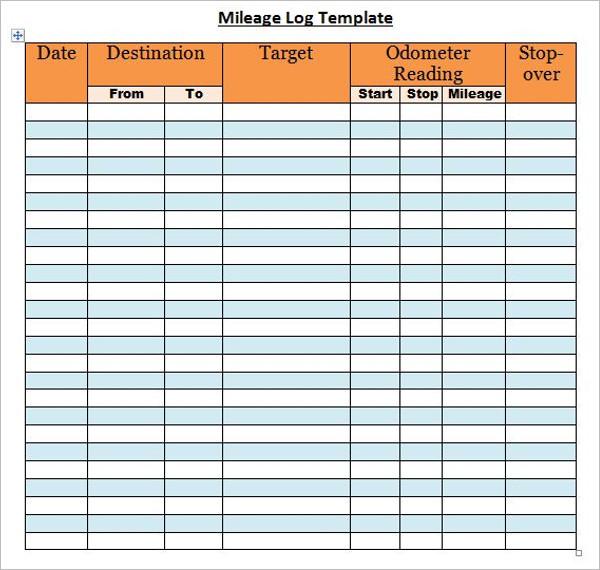Sample Mileage Log Template