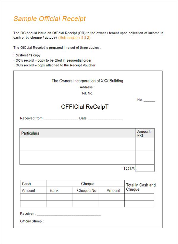 cheque receipt sample