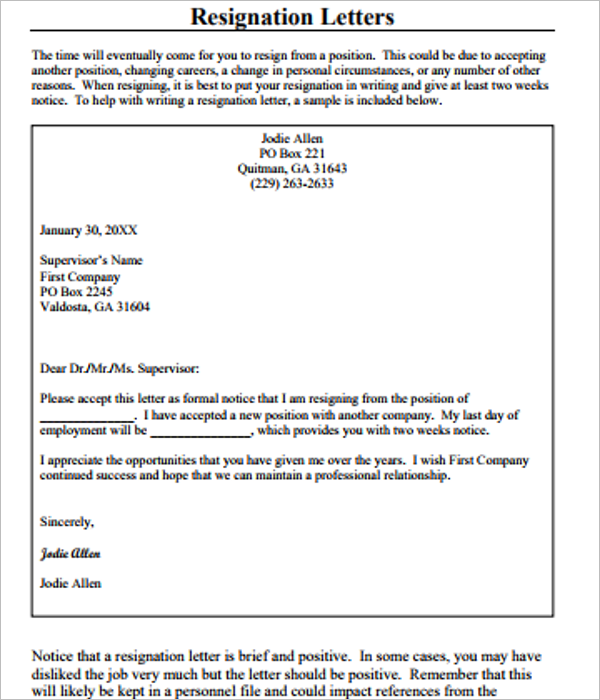 17+ Resignation Letter Templates Free Word, PDF, Excel Samples ...