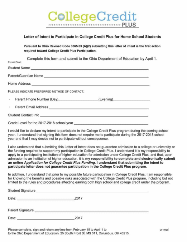 School Letter of Intent Template