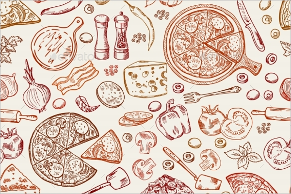 Seamless Pattern with Italian Foods