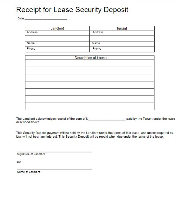 Security Deposit Receipt Template