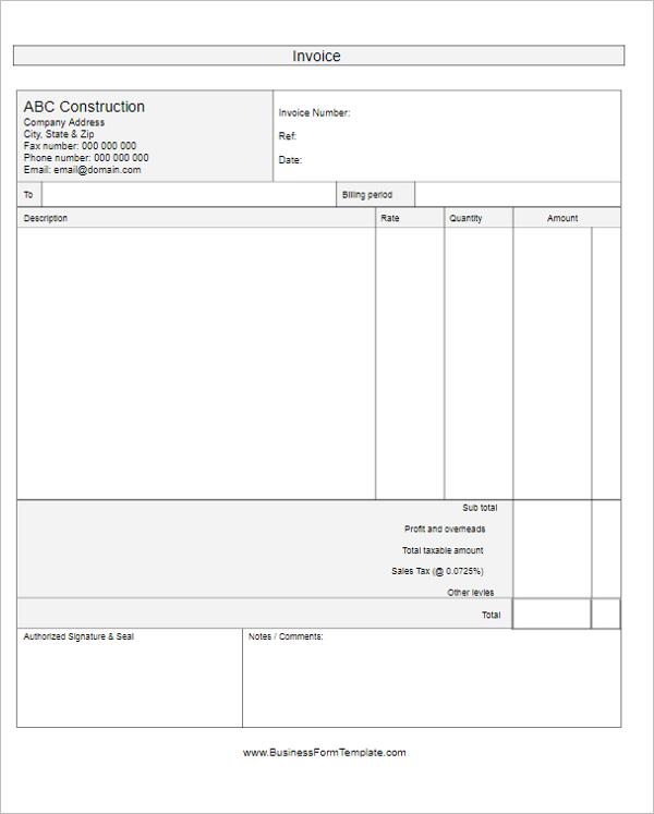 Self Employed Construction Invoice