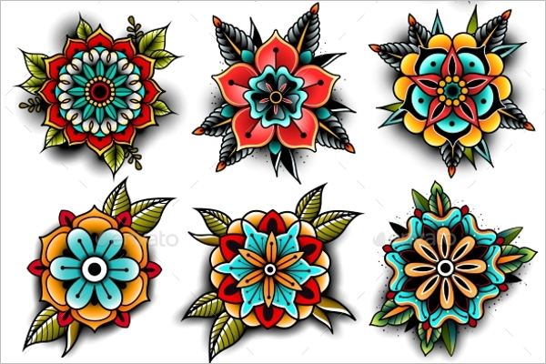 Set of Flower Tattoo Design