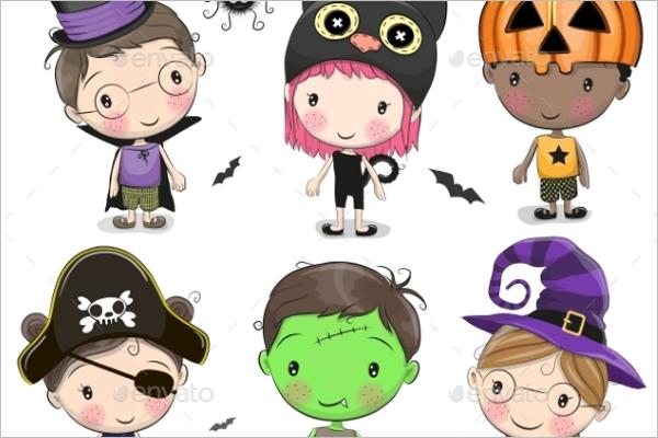 Set of Halloween Kids
