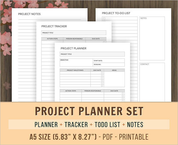 Set of Project Planner List Format