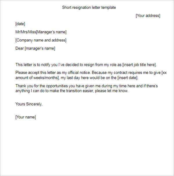 Short Resignation Letter Template