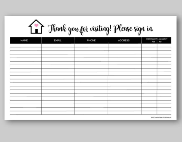 Sign In Sheet PDF Format