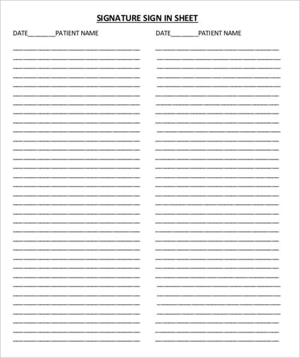 Signature Sign In Sheet Template