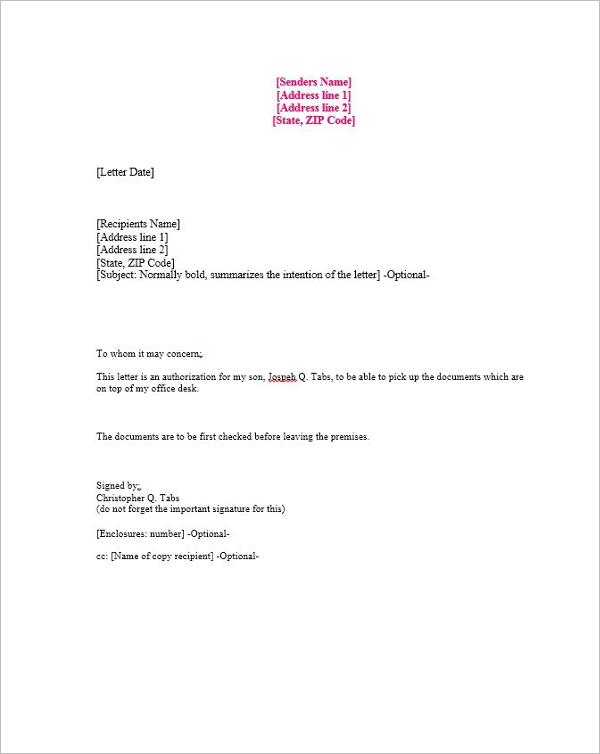 40 Authorization Letter Sample Templates Free PDF Word Formats – Sample Authorization Letter