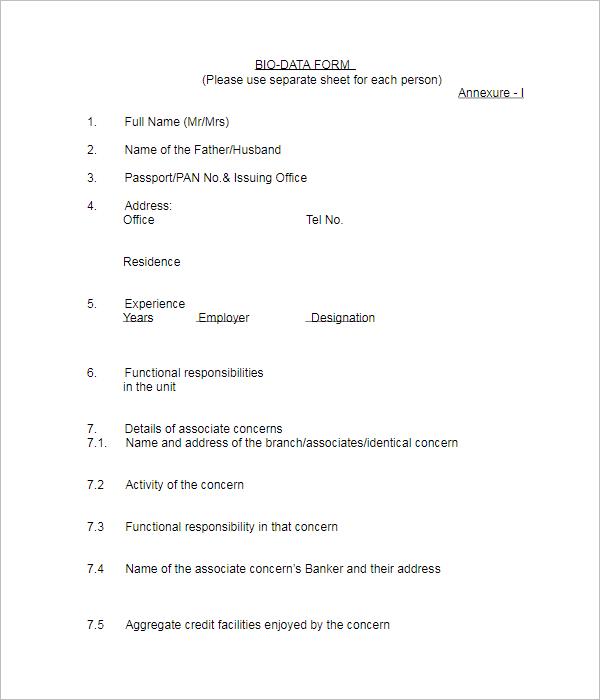 Simple Biodata Form Template