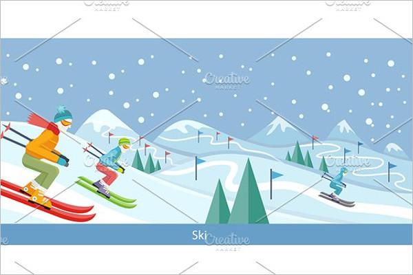 Skiing Winter Landscape Design