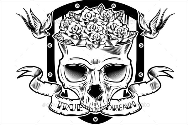 Skull Flower Tattoo Design