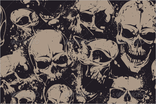 Skull Seamless Pattern With Grunge