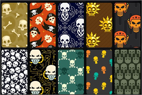 Skull Seamless Vector Patterns