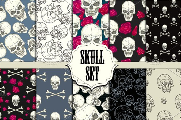 Skull Set Seamless Pattern
