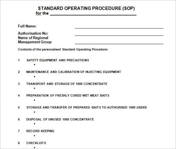 SOP Preparation Guidelines