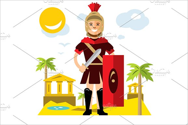 Spartan Warrior Cartoon Character