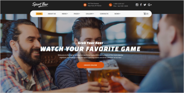 Sports Bar & Restaurant Website Theme