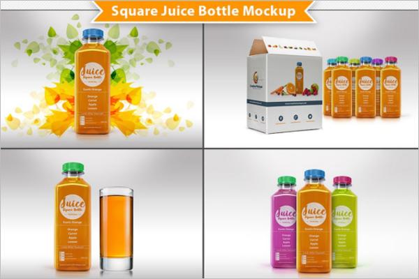 Square Juice Bottle Mockup Design