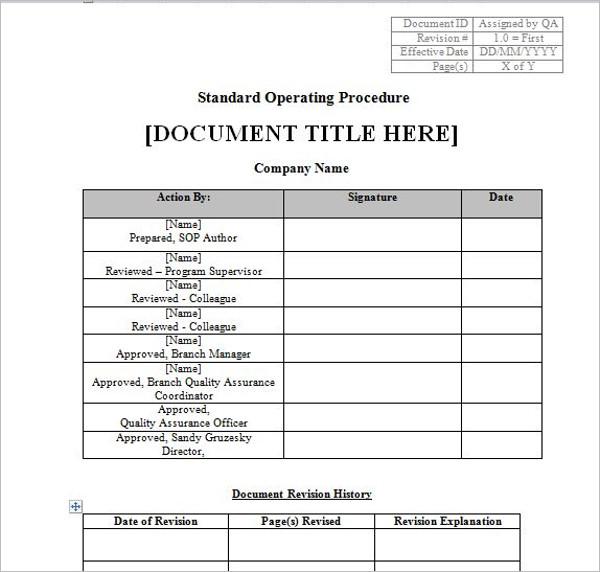 Standard Operating Procedure Document