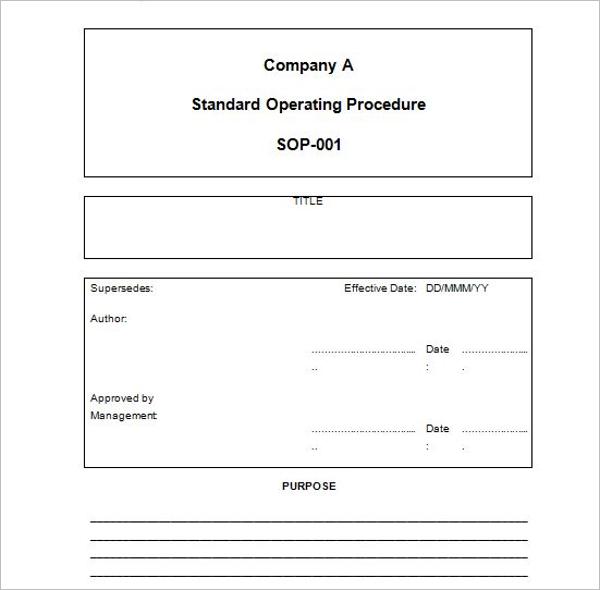 Standard Operating Procedure Format Download