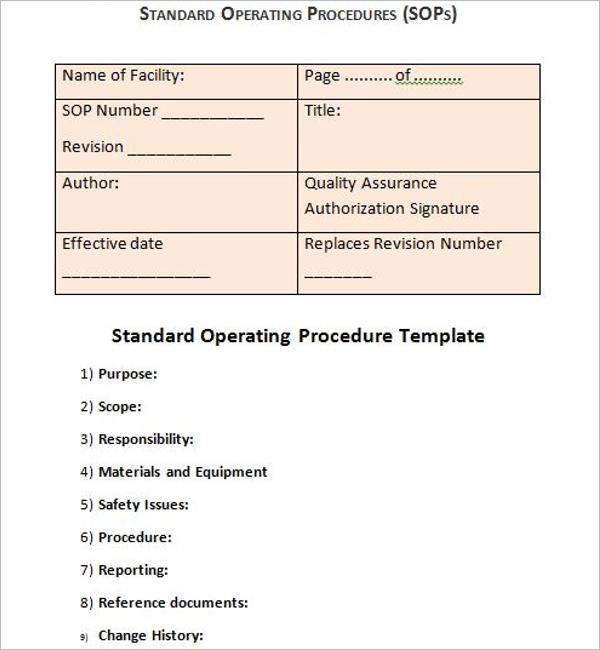 Standard Operating Procedure Guidelines