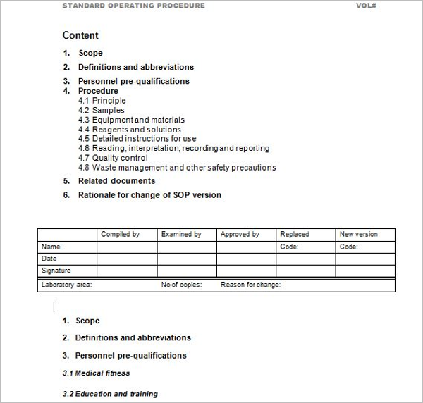45 free standard operating procedure templates word for Quality control procedure template